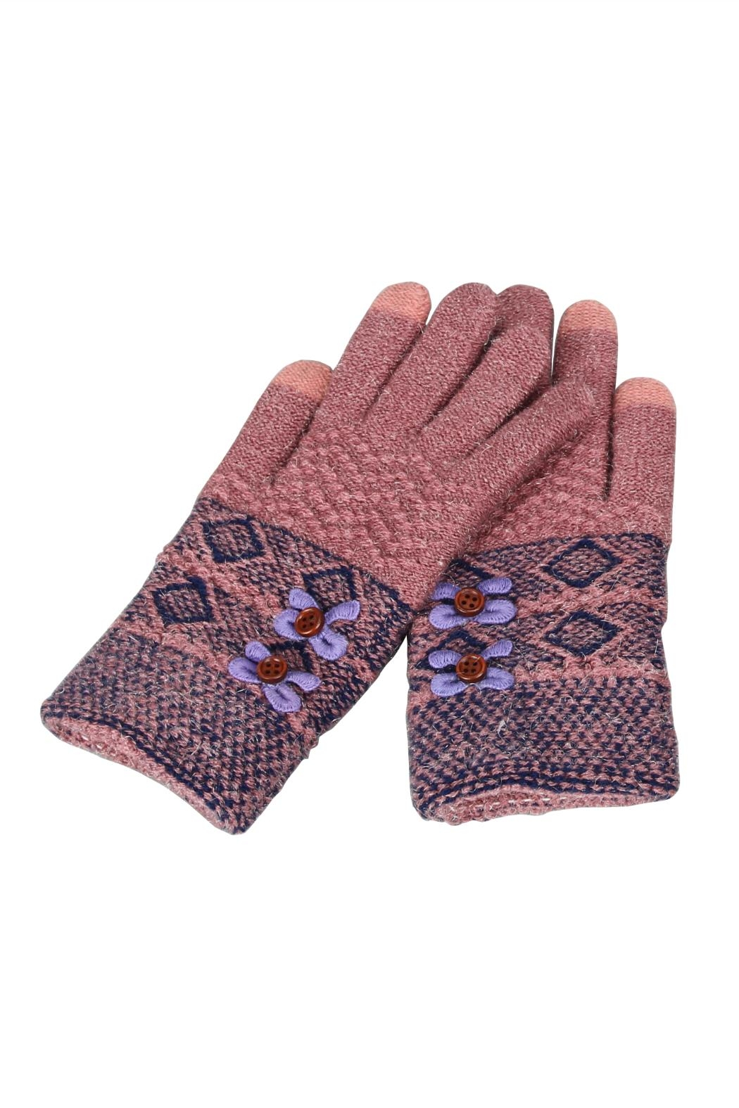 Victoria Leland Designs Knit Texting Gloves - Front Cropped Image
