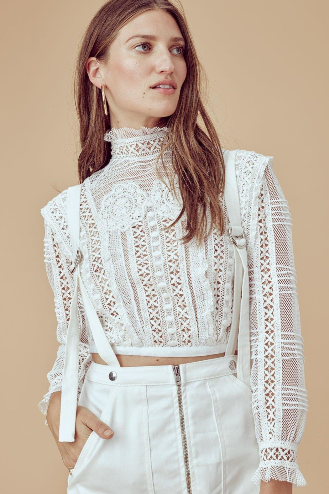 FOR LOVE & LEMONS Victorian Tulle Blouse - Front Full Image