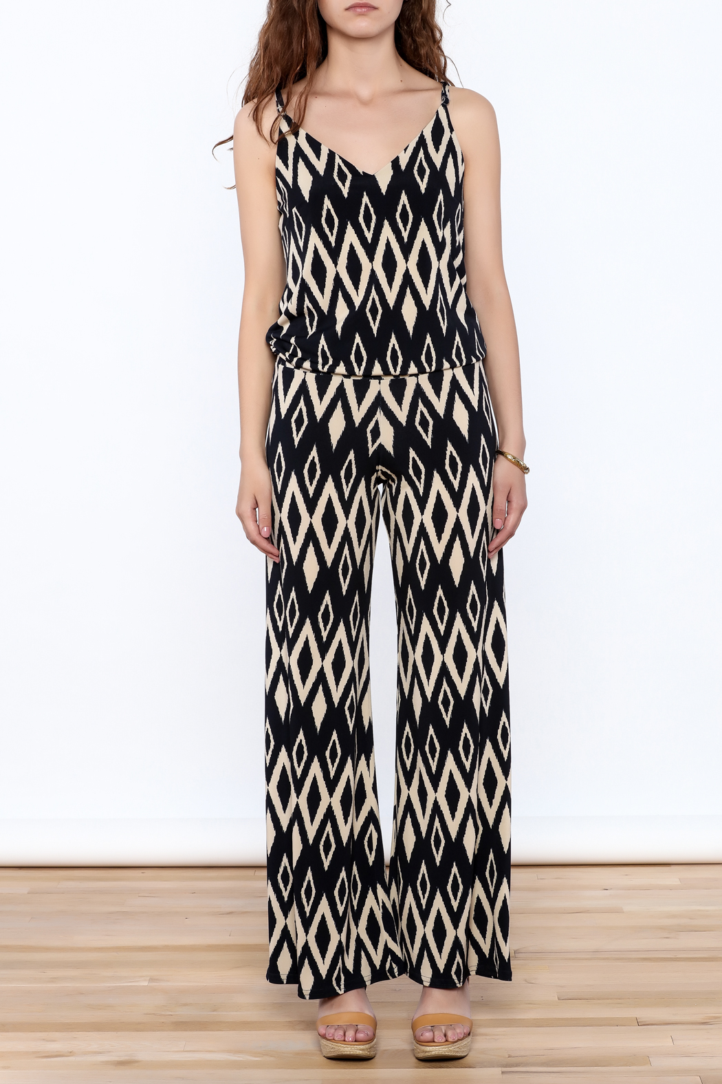 Viereck Navy Print Sleeveless Jumpsuit - Front Cropped Image