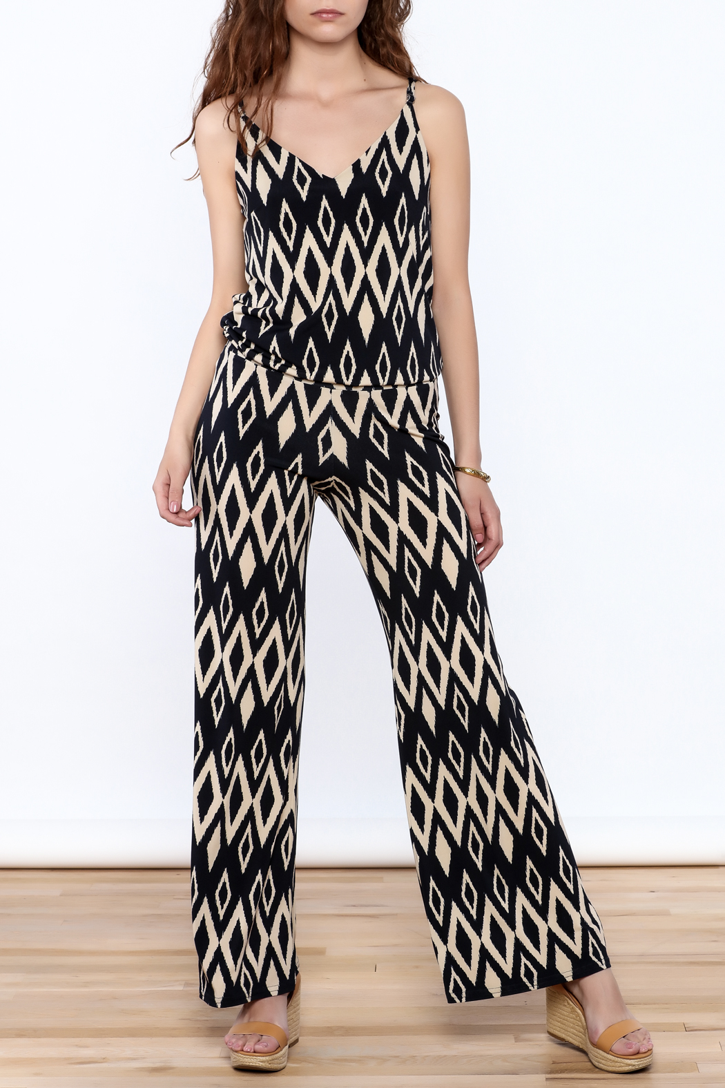 Viereck Navy Print Sleeveless Jumpsuit - Front Full Image