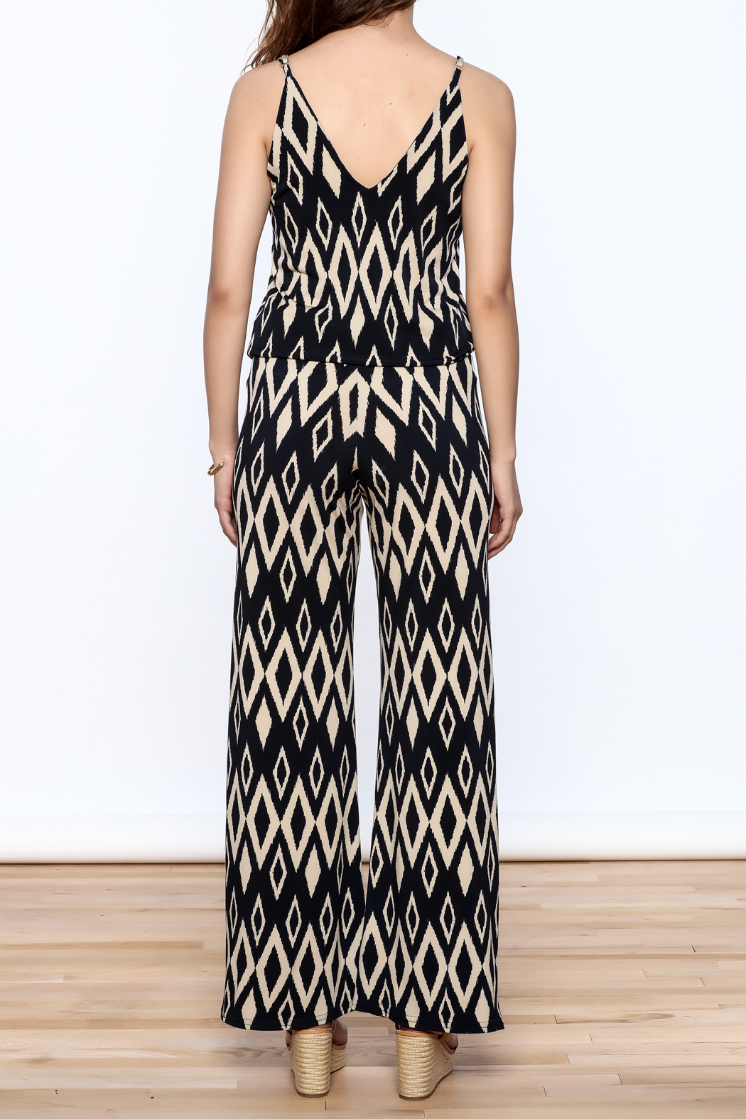 Viereck Navy Print Sleeveless Jumpsuit - Back Cropped Image