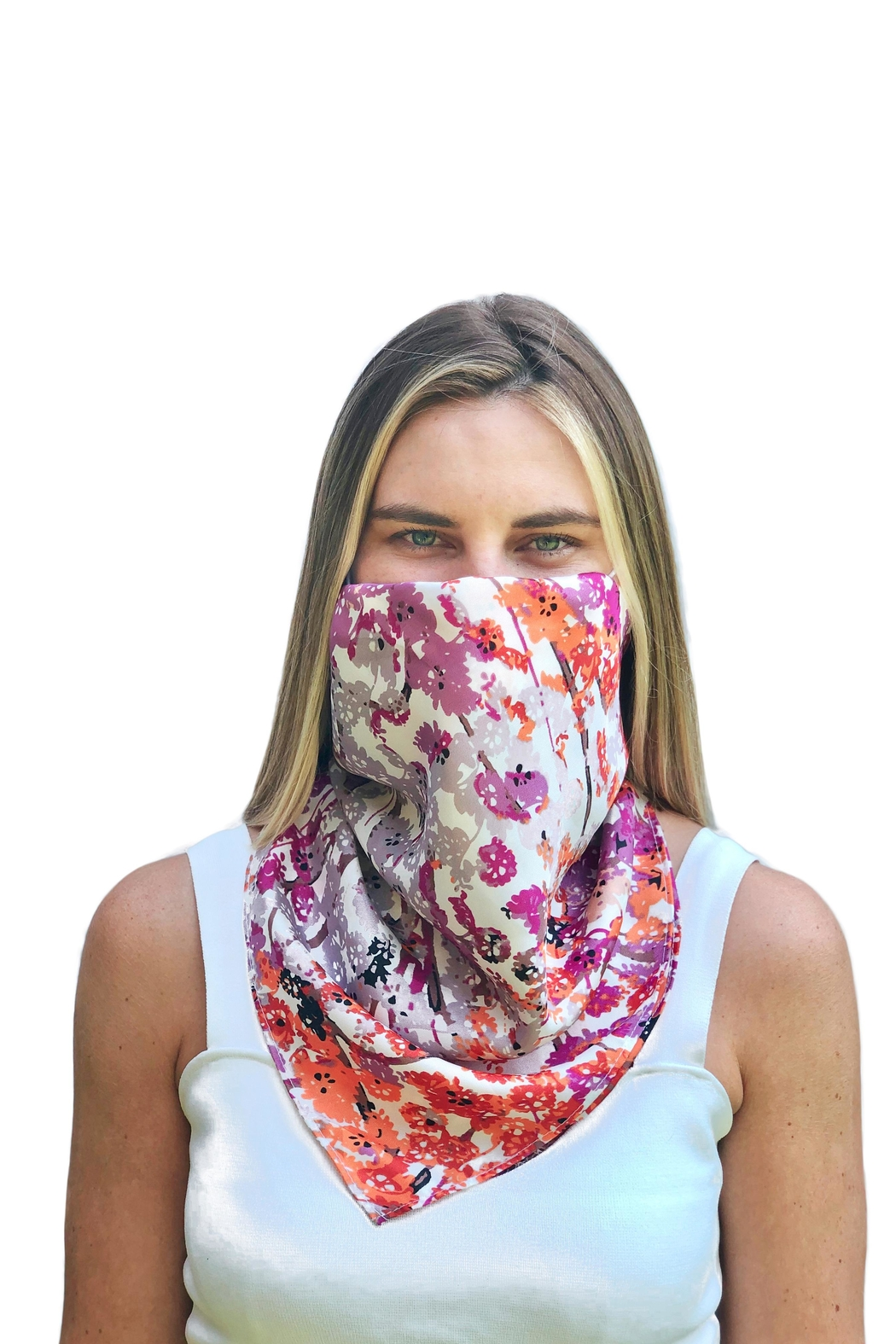 Viesca y Viesca Floral Scarf Mask - Front Full Image