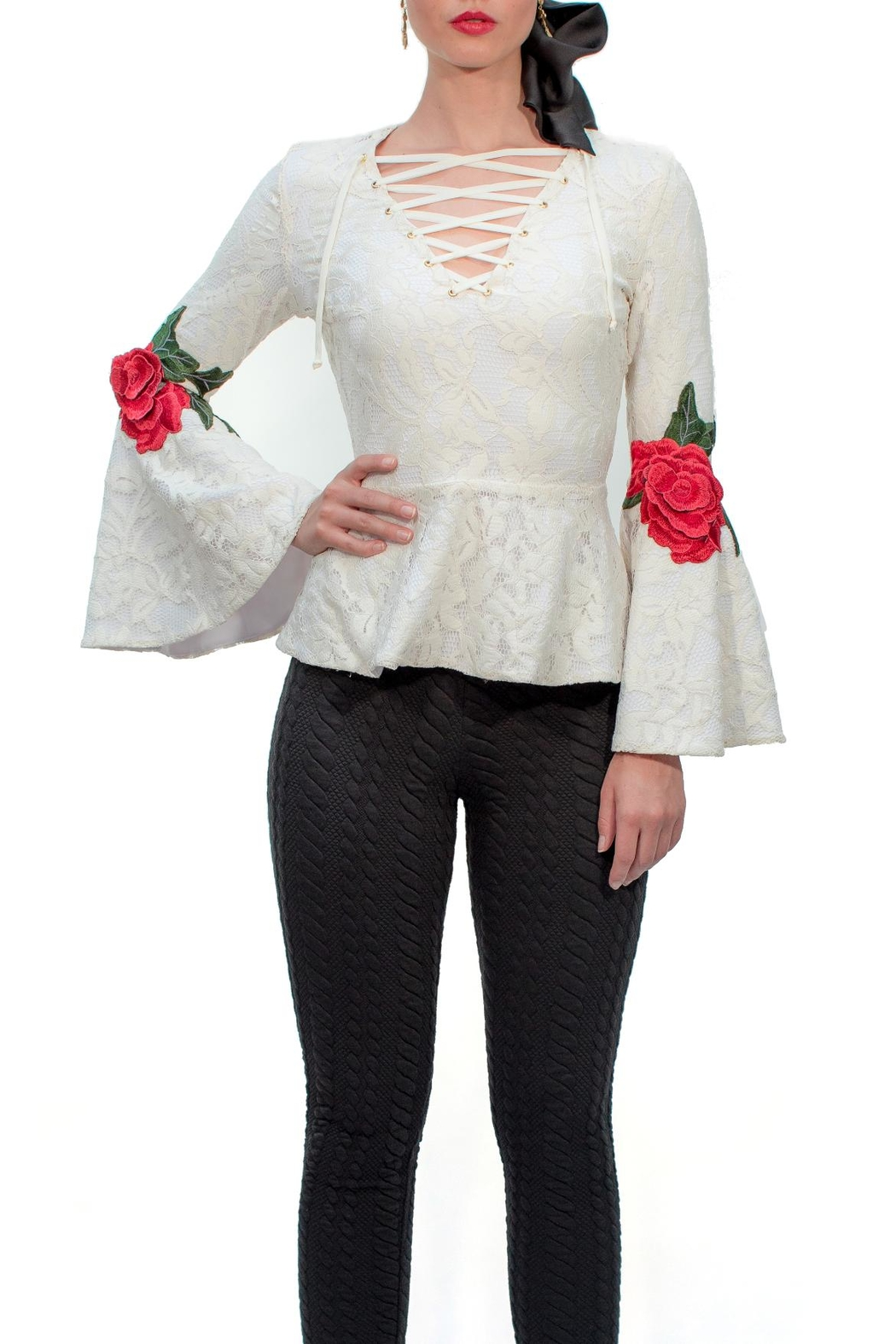 Viesca y Viesca Lace Embroided Blouse - Front Cropped Image