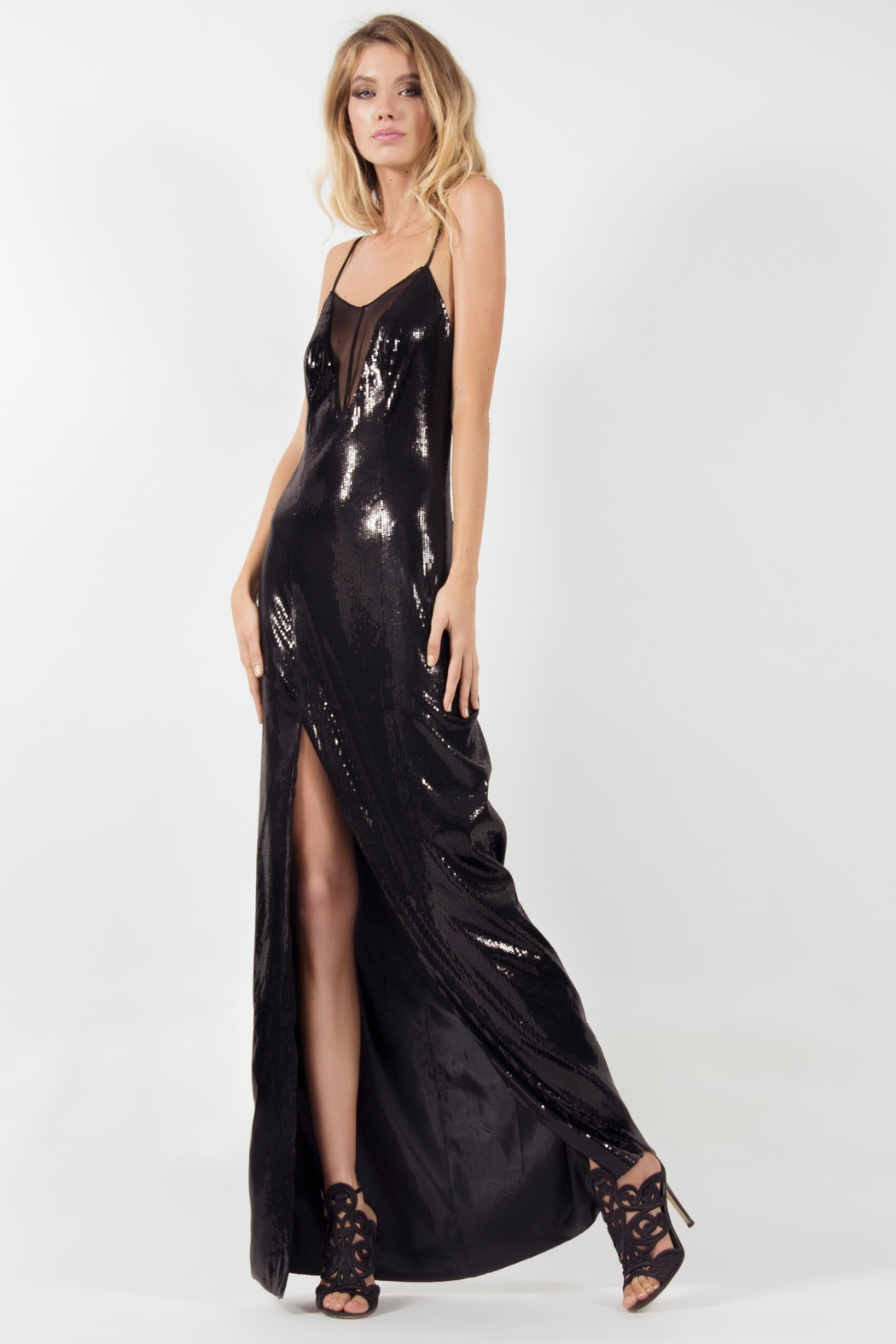 Viesca y Viesca Low Back Maxi Dress - Front Full Image