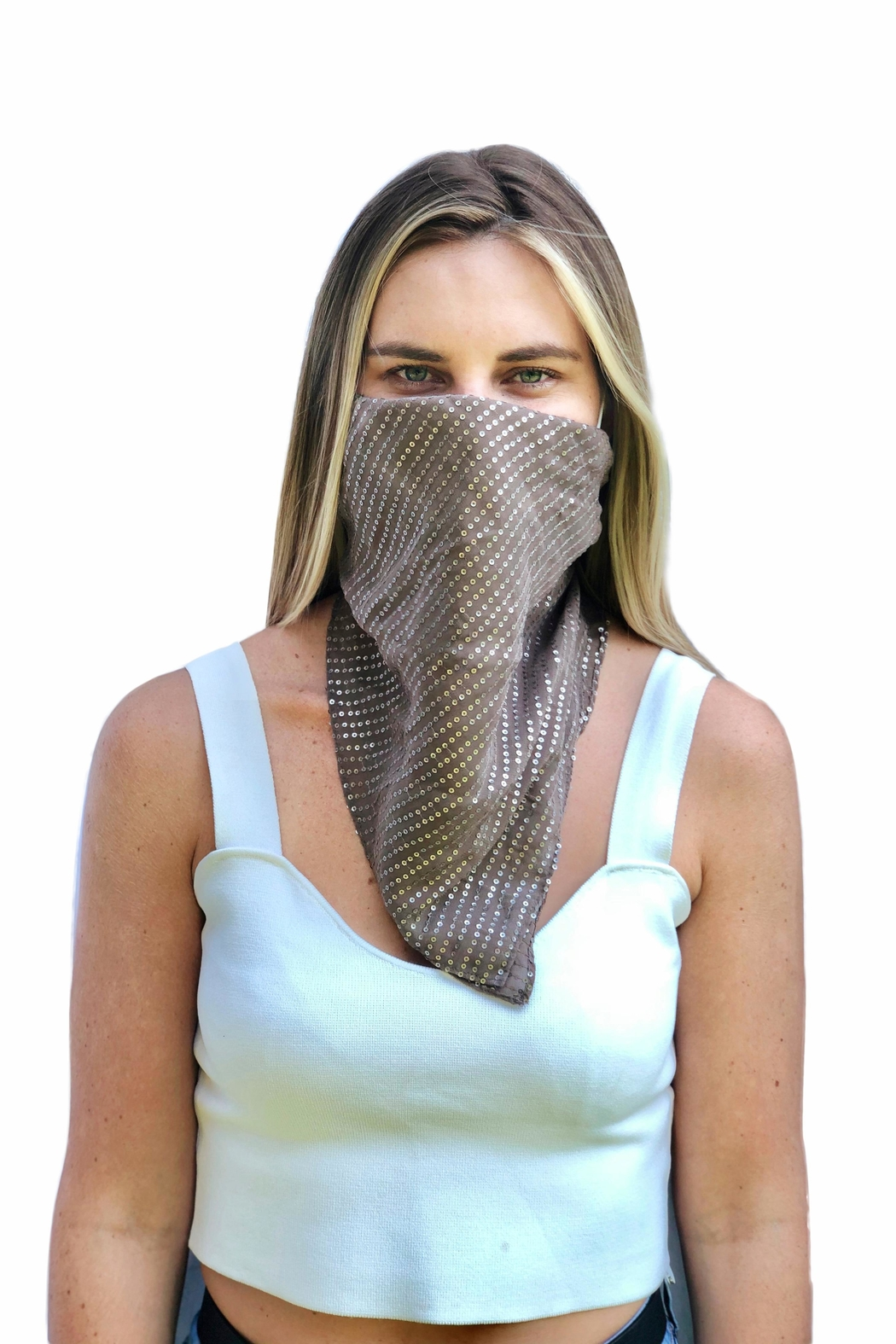 Viesca y Viesca Sequin Scarf Mask - Front Full Image