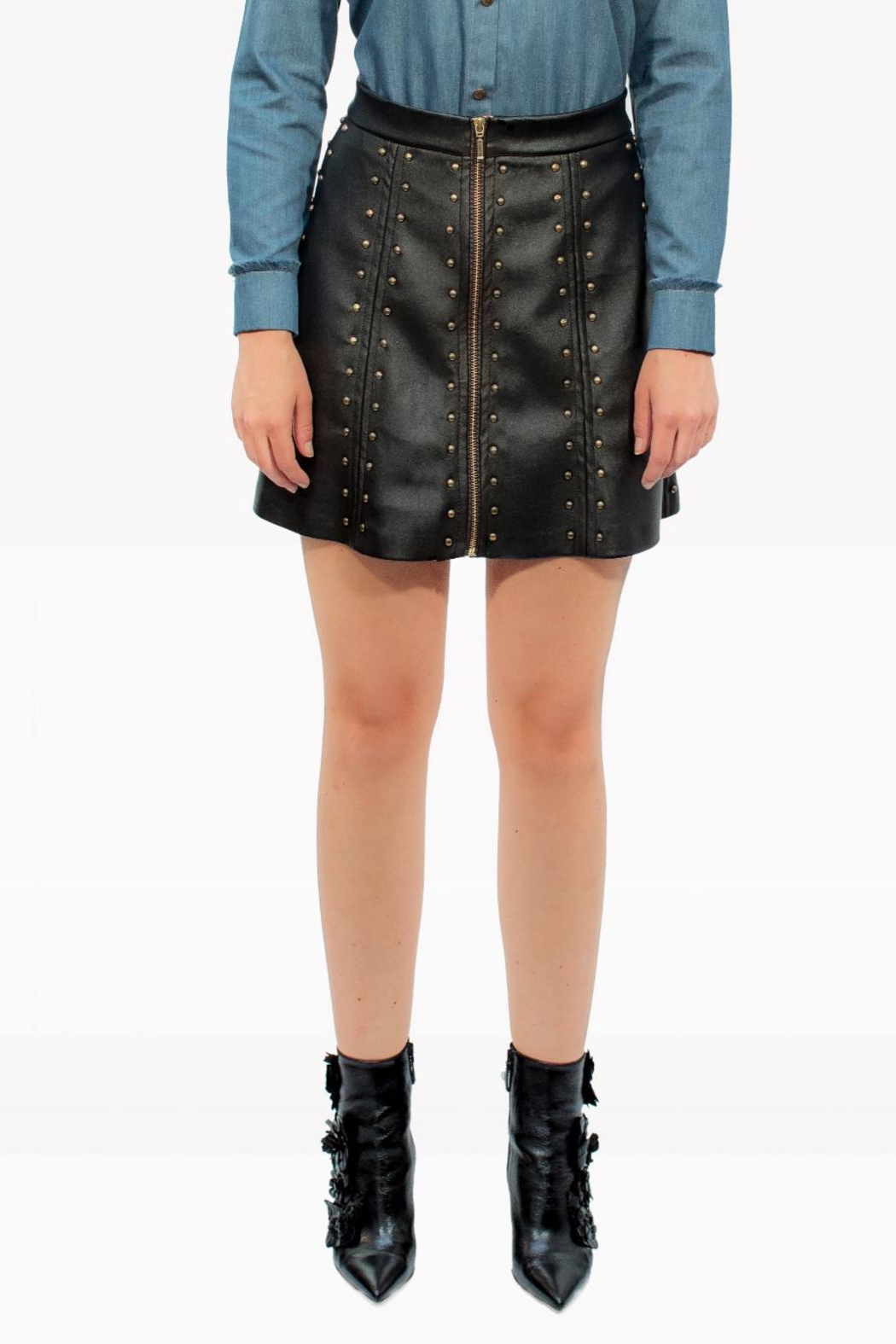 Viesca y Viesca Studded Leather Skirt - Front Full Image