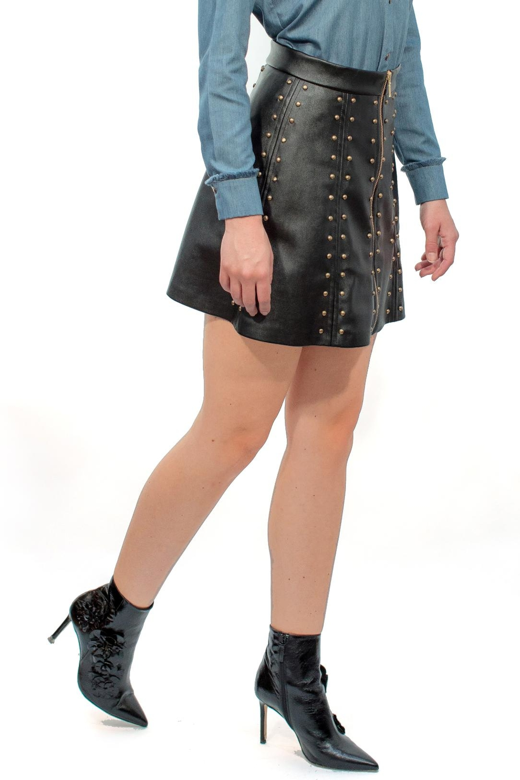 Viesca y Viesca Studded Leather Skirt - Main Image