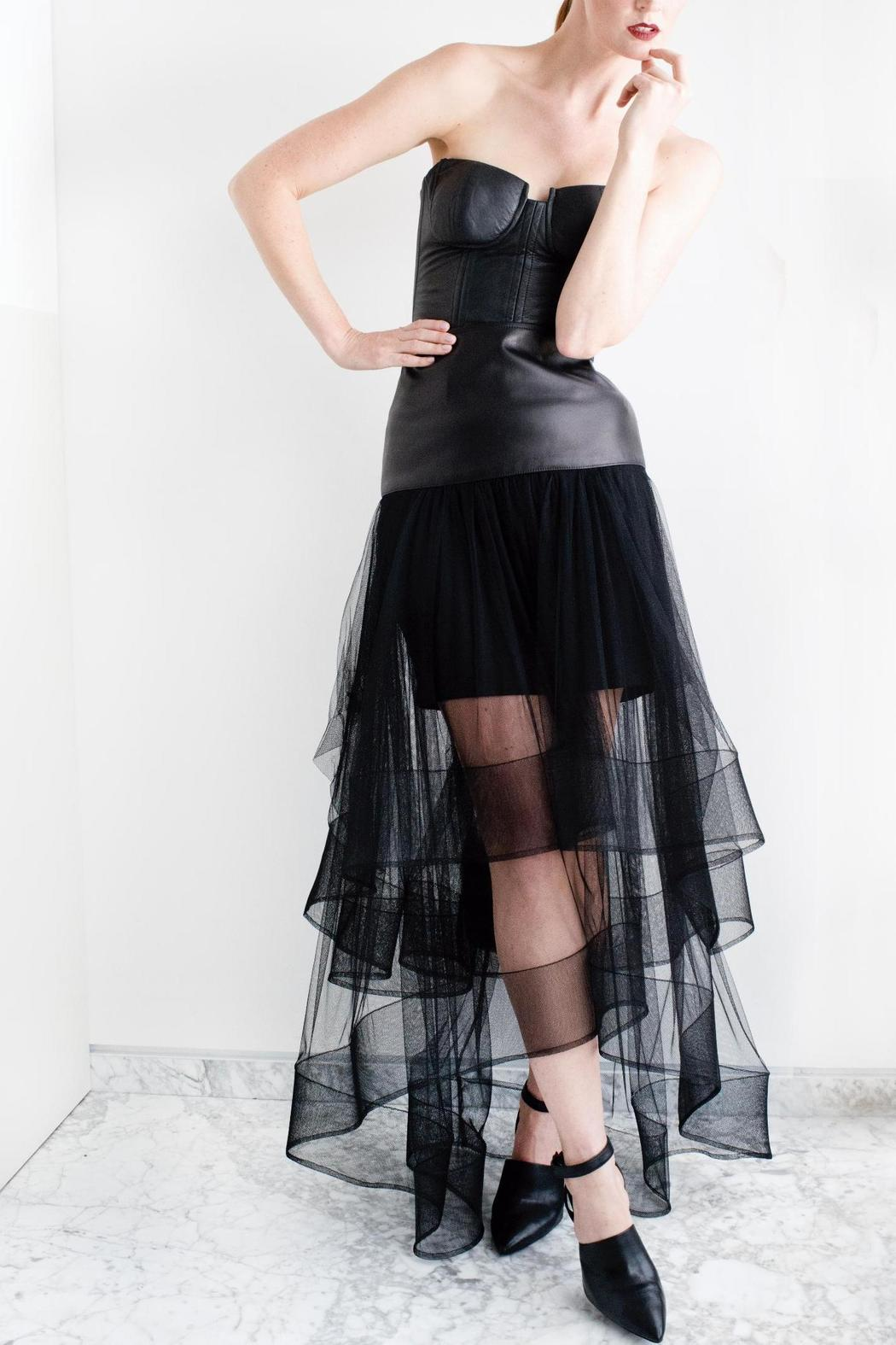 Viesca y Viesca Tulle Leather Skirt - Main Image