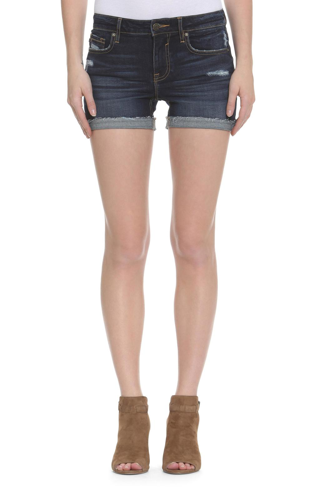 Vigoss Dark Wash Distressed Shorts - Front Cropped Image
