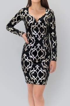 Vijo Couture Embellished Velvet Dress - Product List Image