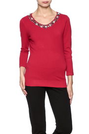 Vila Jeweled Neck Top - Product Mini Image