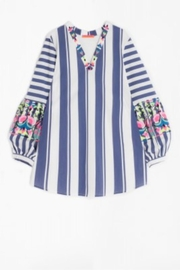 Vilagallo Embroidered Navy-Stripe Top - Product Mini Image