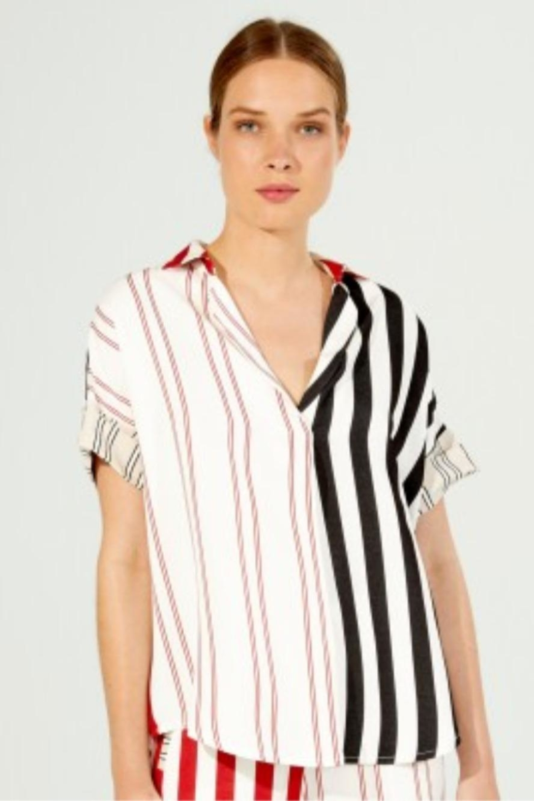 Vilagallo Monica Red-Stripe Top - Front Cropped Image