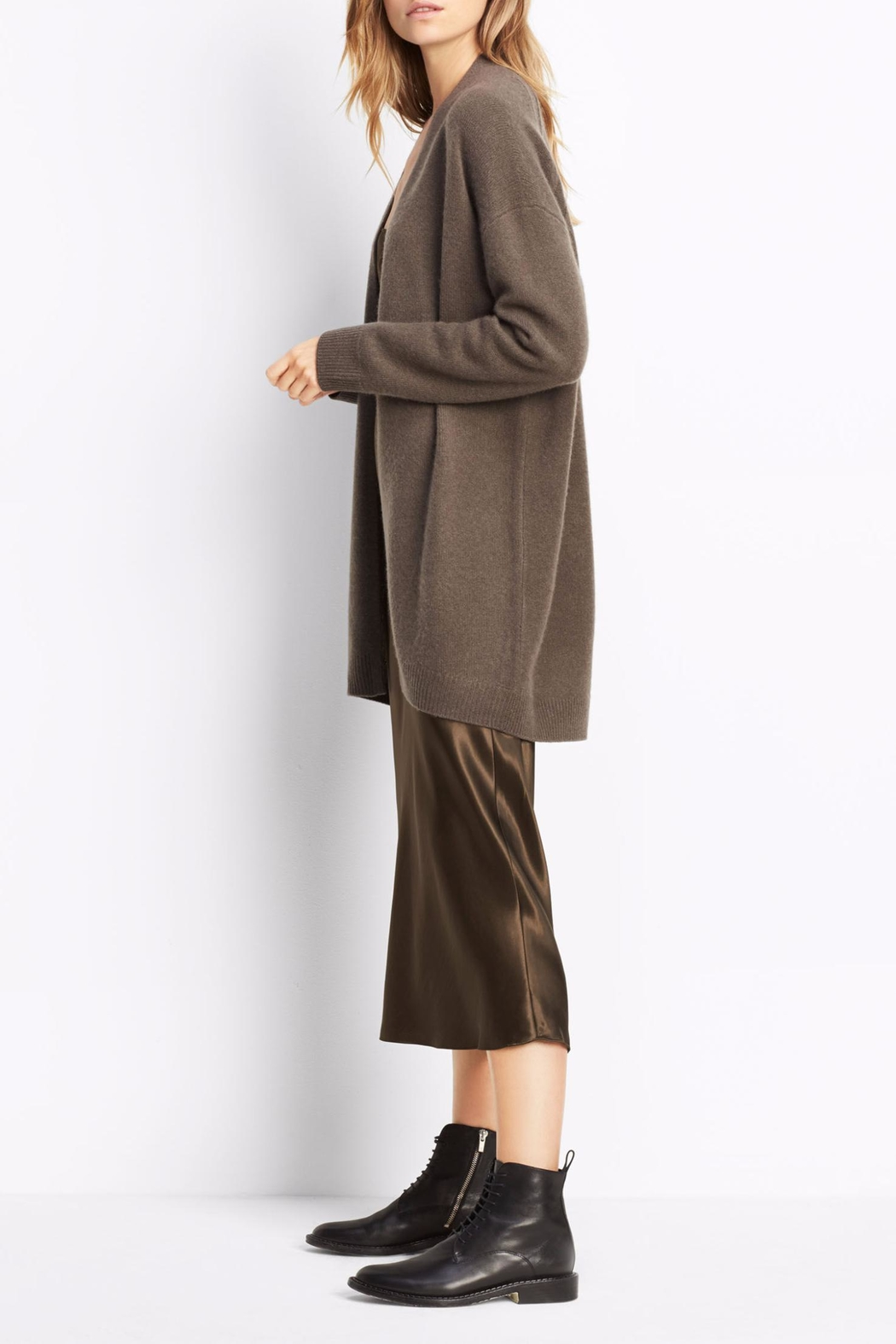Vince Cashmere Open Cardigan - Side Cropped Image