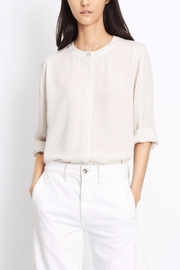 Vince Collarless Pleat Back Blouse - Product Mini Image
