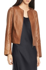 Vince Collarless Zip Leather - Front cropped