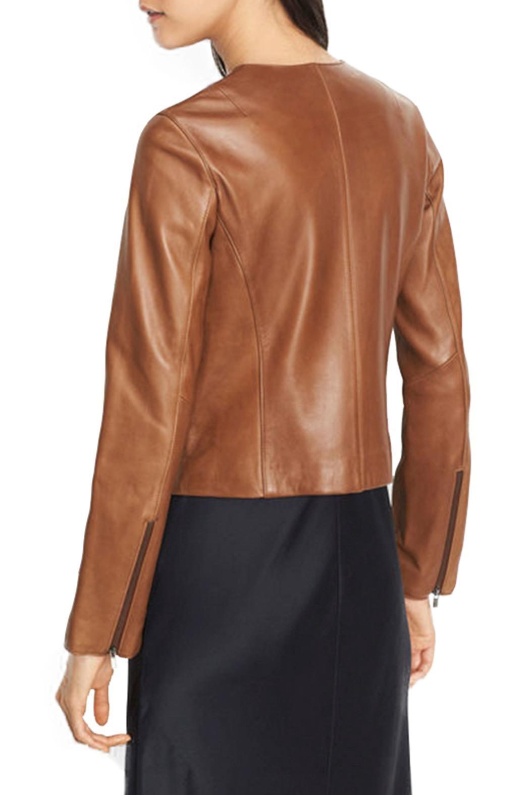 Vince Collarless Zip Leather - Front Full Image