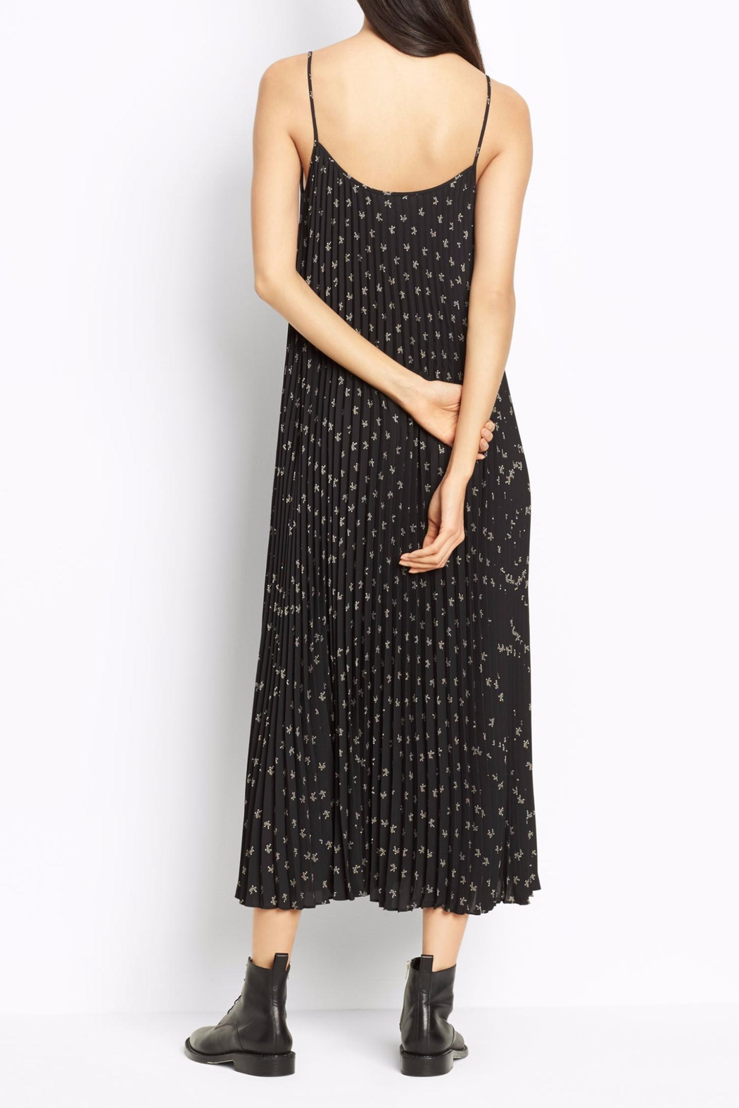 Vince Floral Pleated Dress - Side Cropped Image