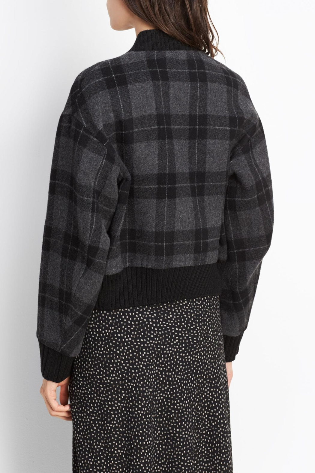 Vince Plaid Wool Bomber - Front Full Image