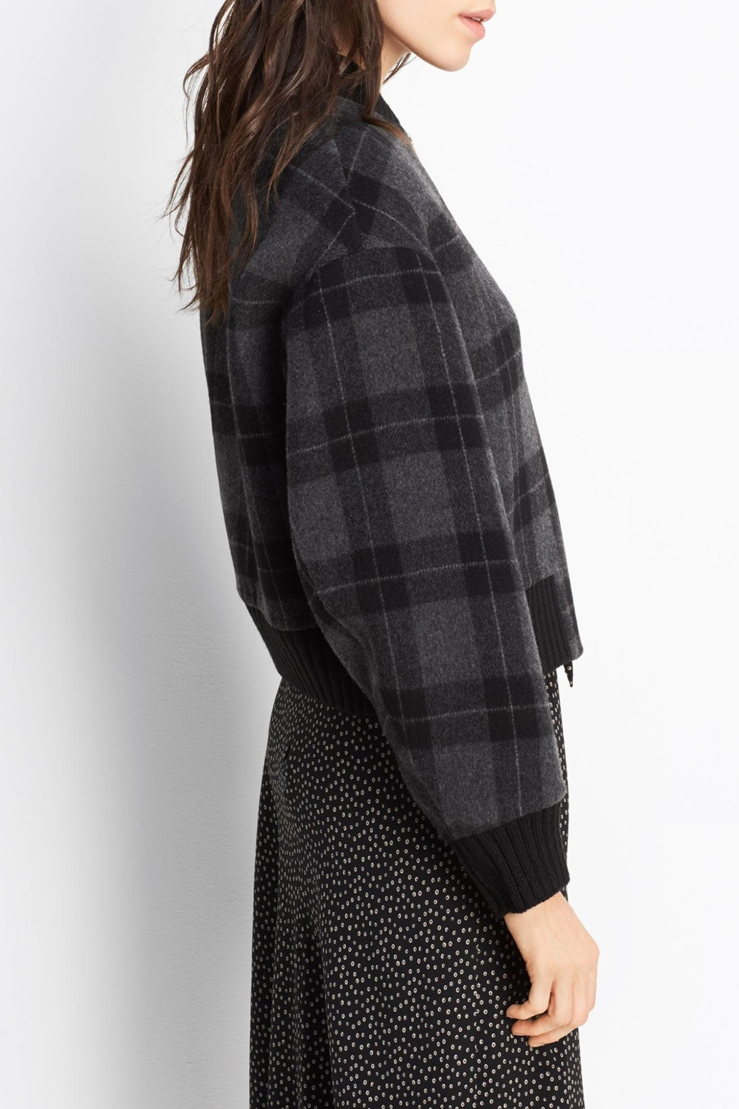 Vince Plaid Wool Bomber - Side Cropped Image