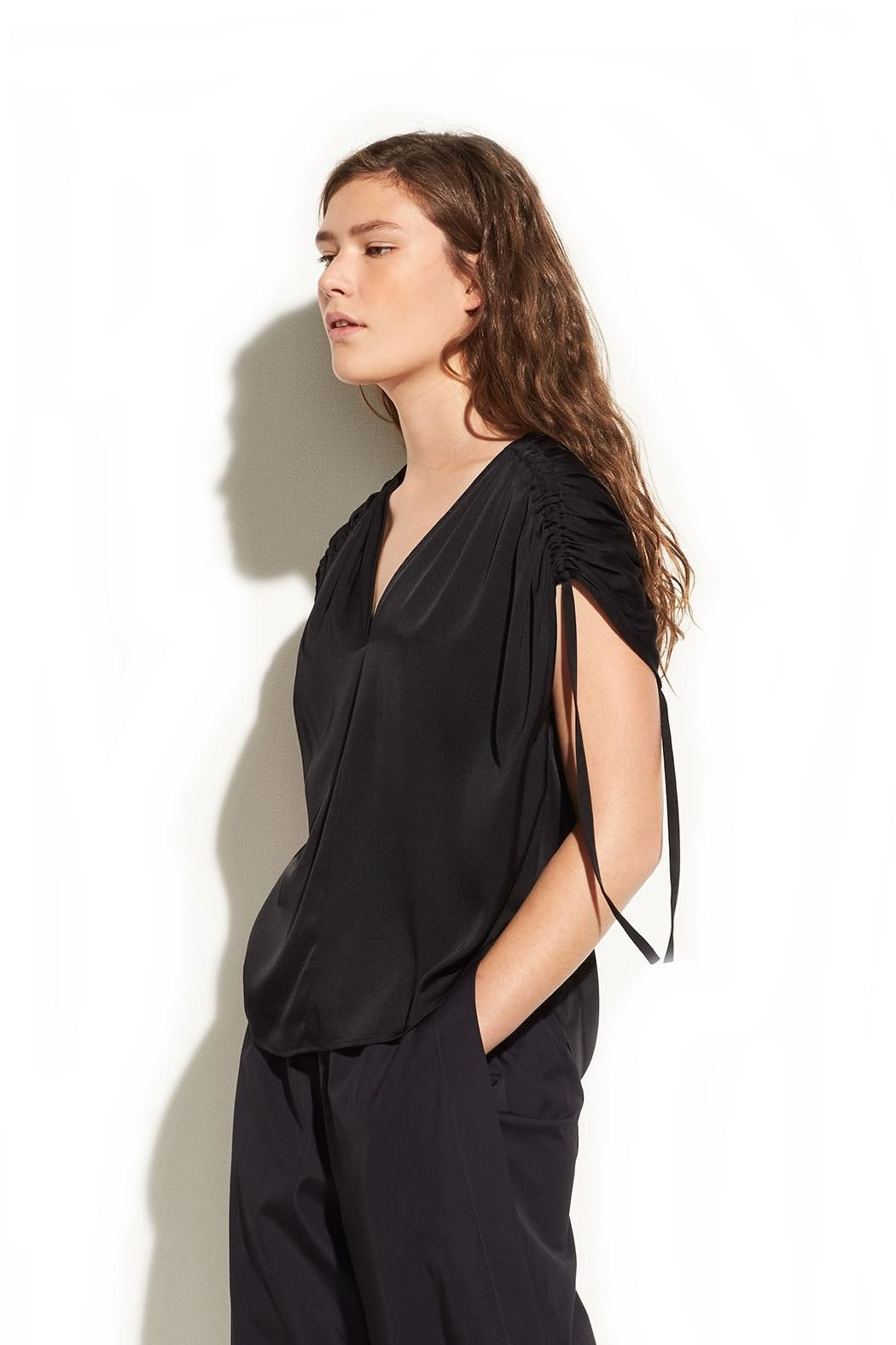 Vince Ruched V-Neck Blouse - Main Image