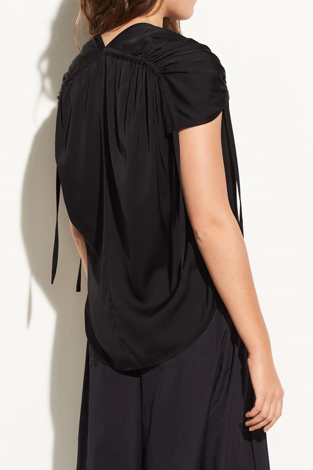 Vince Ruched V-Neck Blouse - Back Cropped Image
