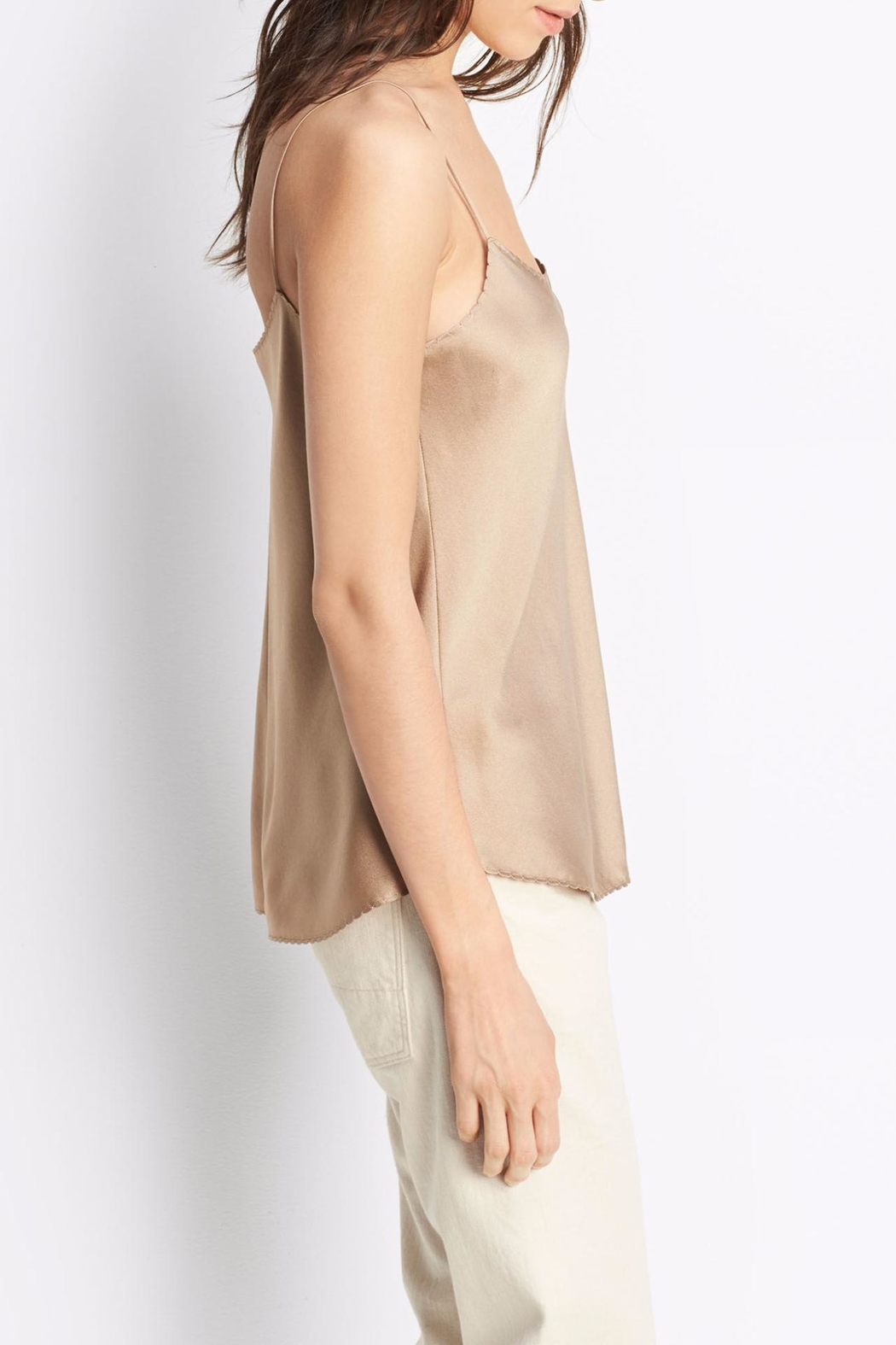 Vince Scallop Silk Tank - Side Cropped Image