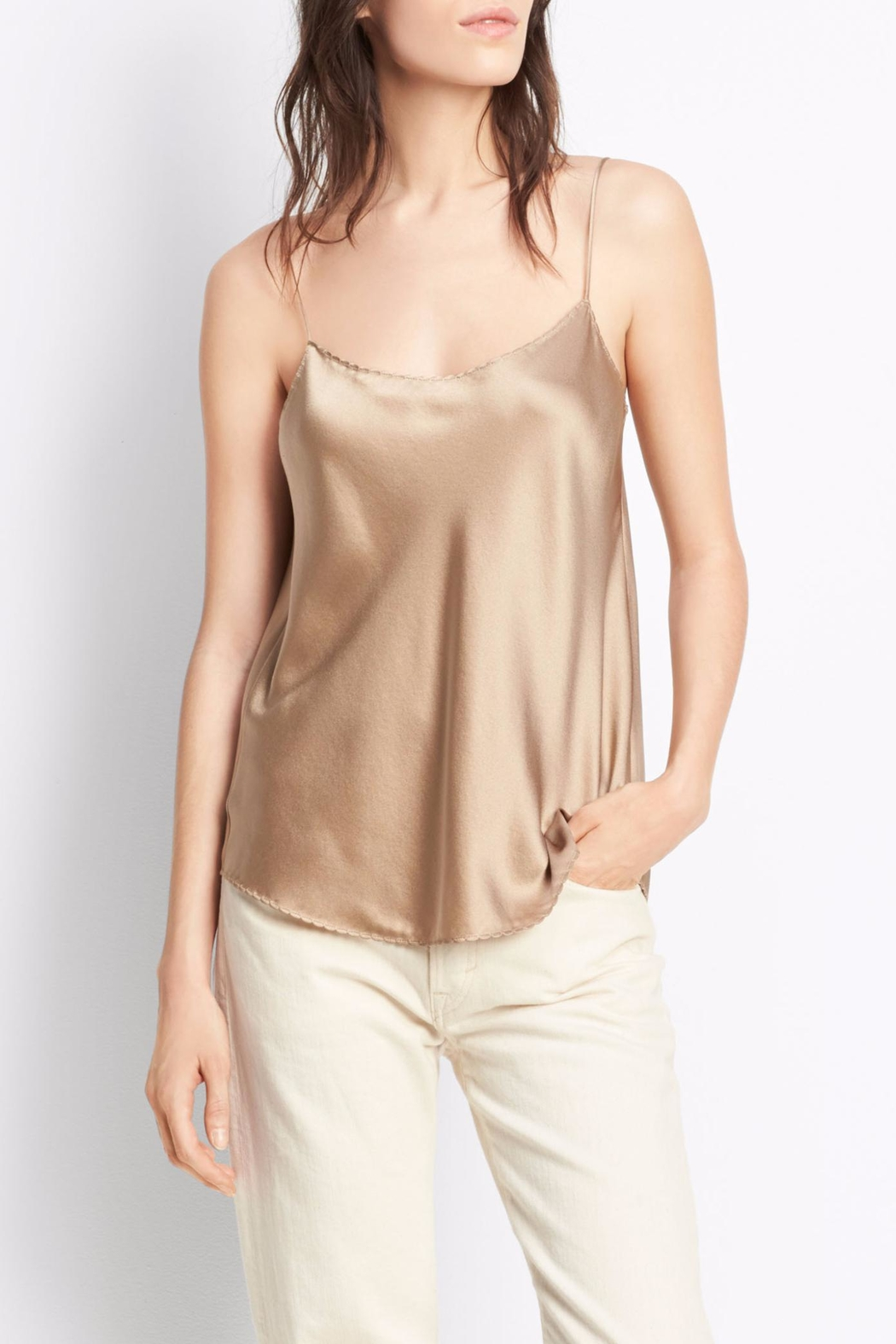 Vince Scallop Silk Tank - Front Cropped Image