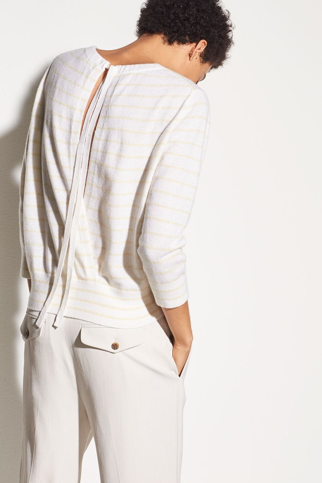 Vince Striped Tie Sweater - Back Cropped Image