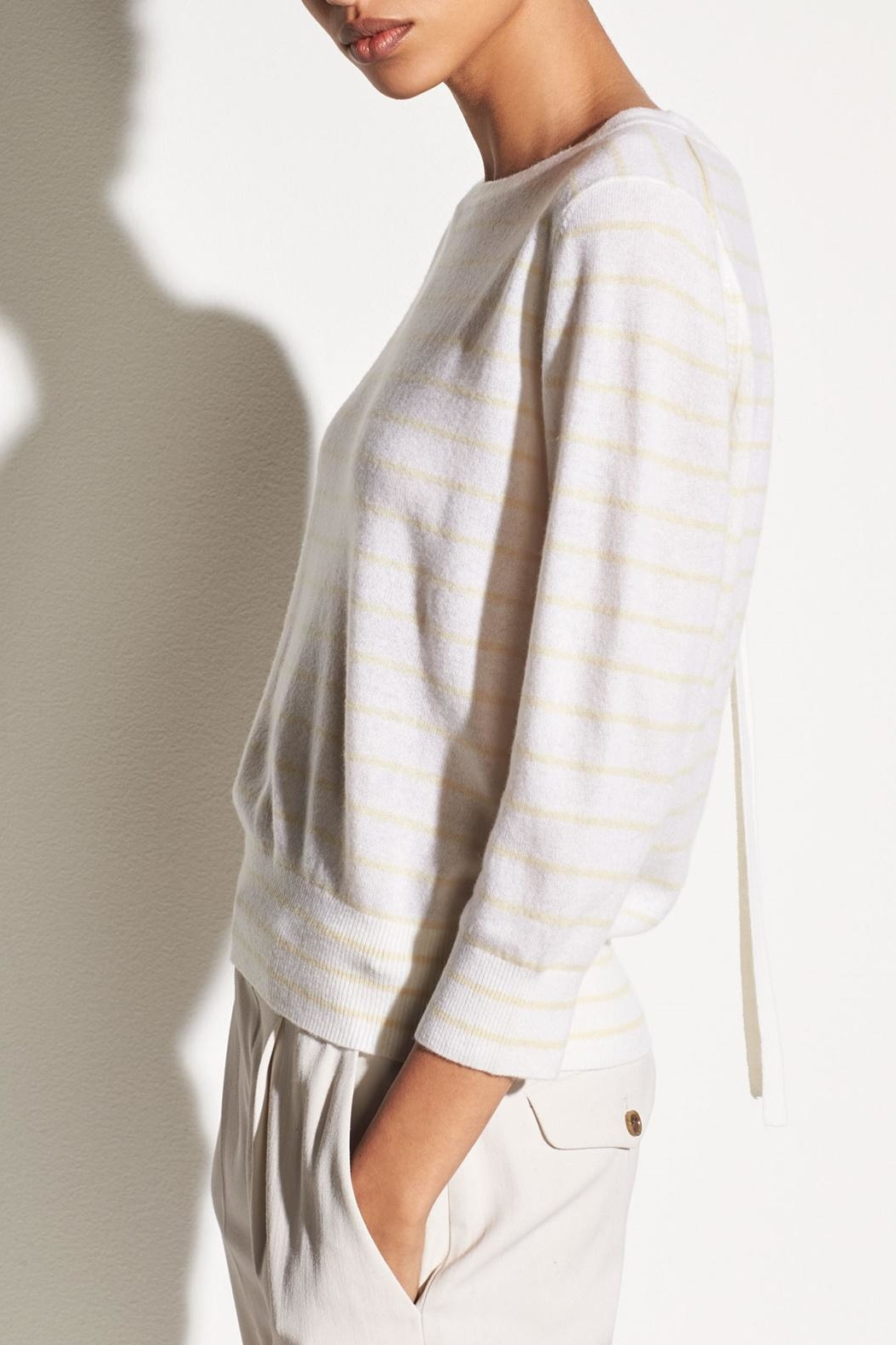 Vince Striped Tie Sweater - Side Cropped Image