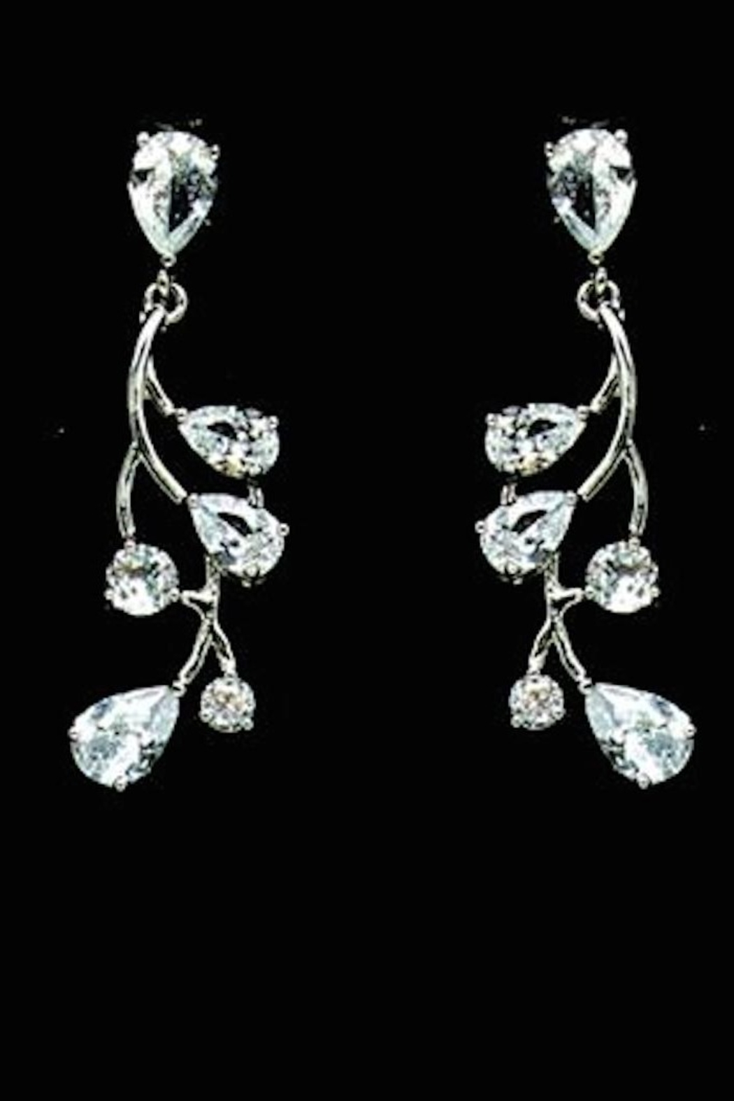 US Jewelry House Vine Pave Earrings - Front Cropped Image