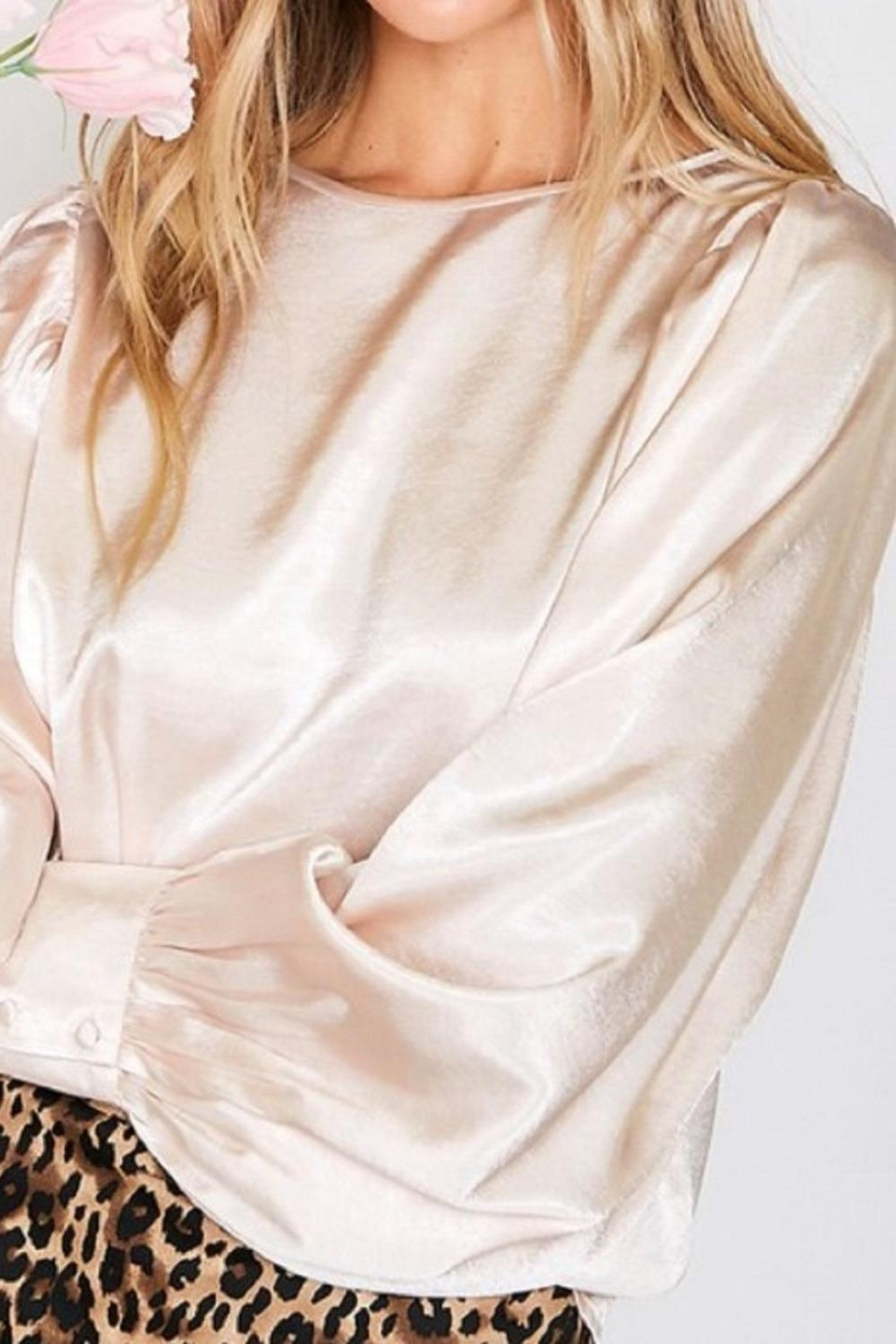 Vine & Love Gold Silk Blouse - Side Cropped Image