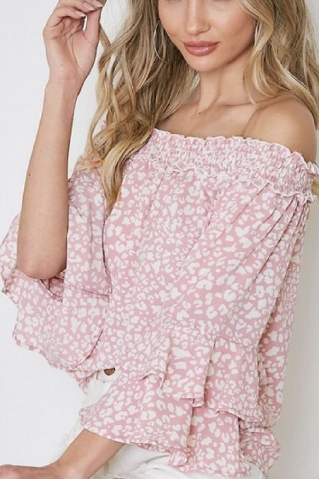 Vine & Love Pink Animal Top - Front Cropped Image