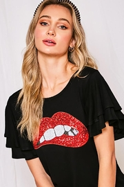 Vine & Love Round Neck Red Lip Patch Jersey Knit Top - Product Mini Image