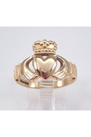 Margolin & Co Vintage 9K Yellow Gold Claddagh Ring Heart Crown Size 8.5 Irish Wedding Band - Product Mini Image