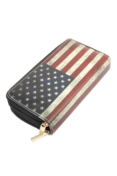 Shoptiques Product: Vintage-American-Flag Double-Zipper-Wallet