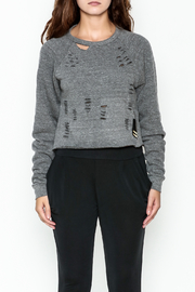 Vintage Brand Cropped Ripped Sweatshirt - Front full body