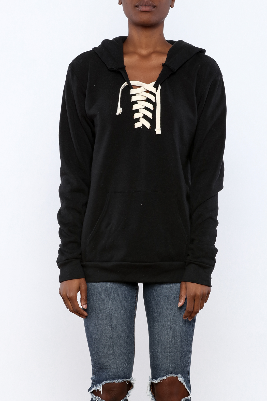 Vintage Brand Lace Up Pullover Hoodie - Side Cropped Image