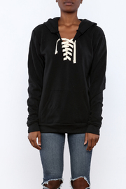 Vintage Brand Lace Up Pullover Hoodie - Side cropped