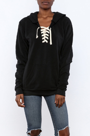 Vintage Brand Lace Up Pullover Hoodie - Front cropped