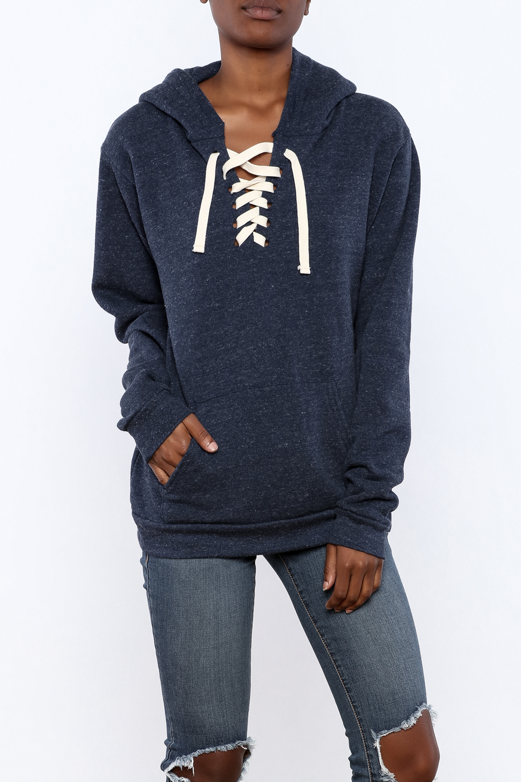 Vintage Brand Lace Up Pullover Hoodie - Main Image