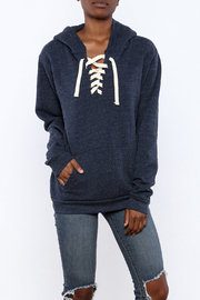 Vintage Brand Lace Up Pullover Hoodie - Product Mini Image