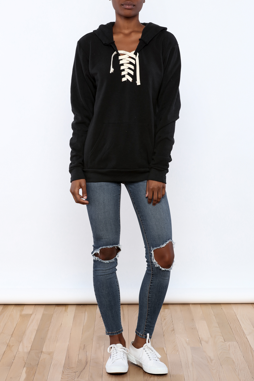Vintage Brand Lace Up Pullover Hoodie - Front Full Image
