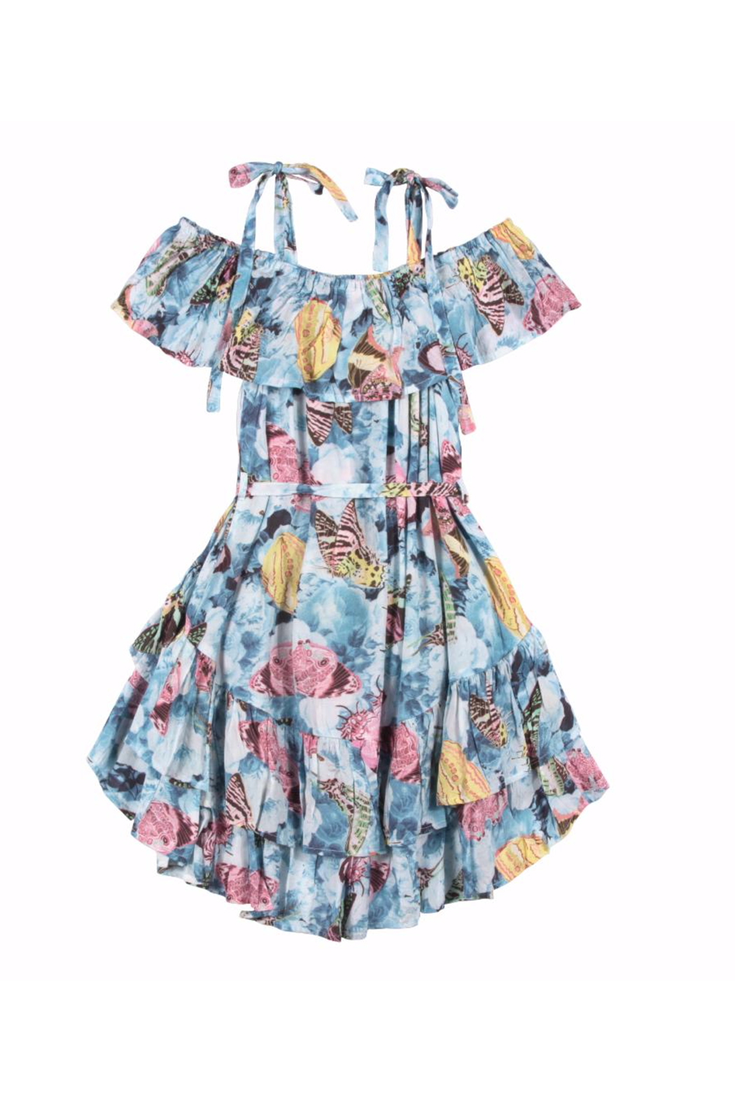 Paper Wings Vintage Butterfly Frilled Off Shoulder Dress - Front Full Image