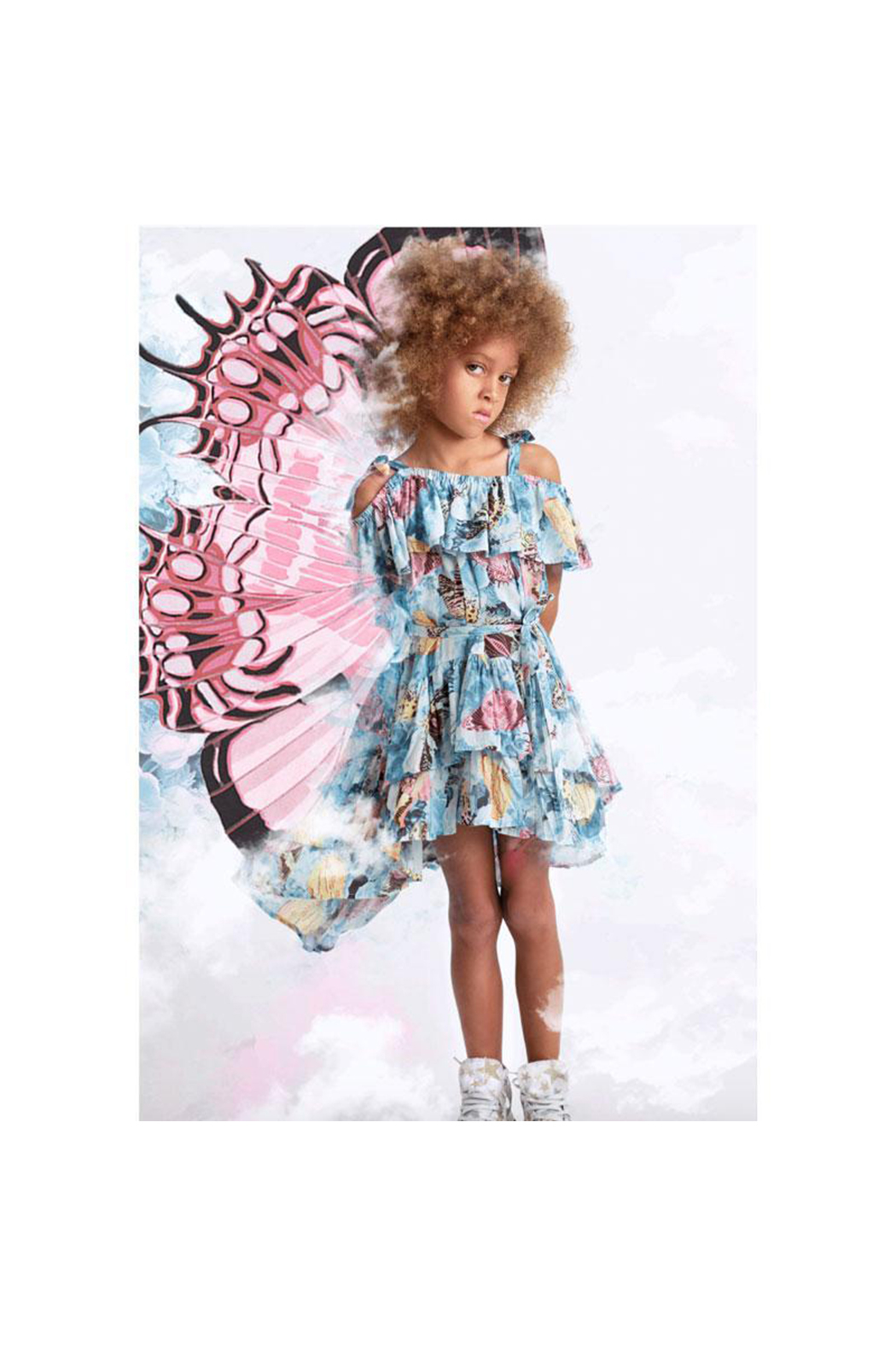 Paper Wings Vintage Butterfly Frilled Off Shoulder Dress - Side Cropped Image
