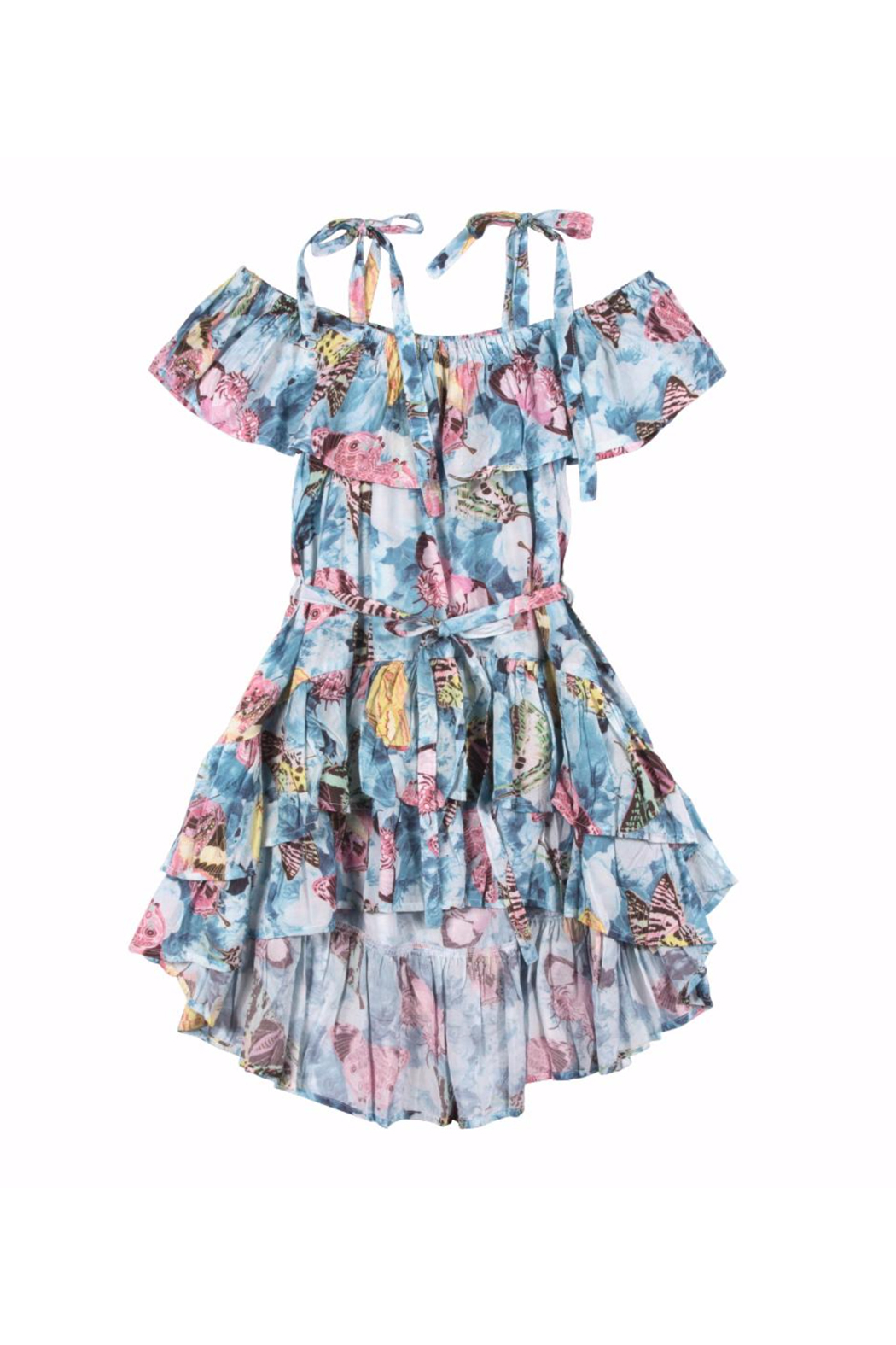 Paper Wings Vintage Butterfly Frilled Off Shoulder Dress - Front Cropped Image