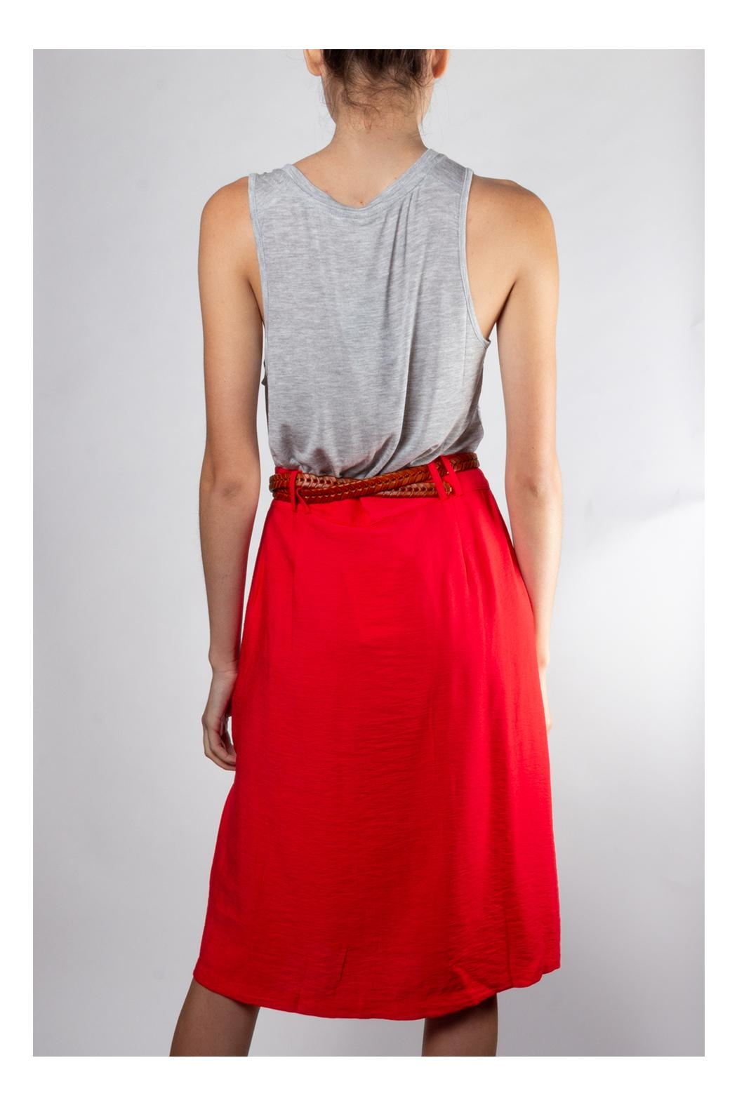 Lumiere Vintage Button-Front Skirt - Back Cropped Image