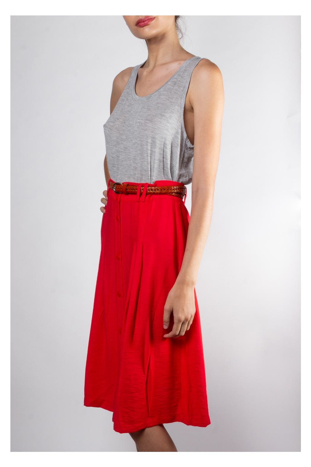 Lumiere Vintage Button-Front Skirt - Side Cropped Image