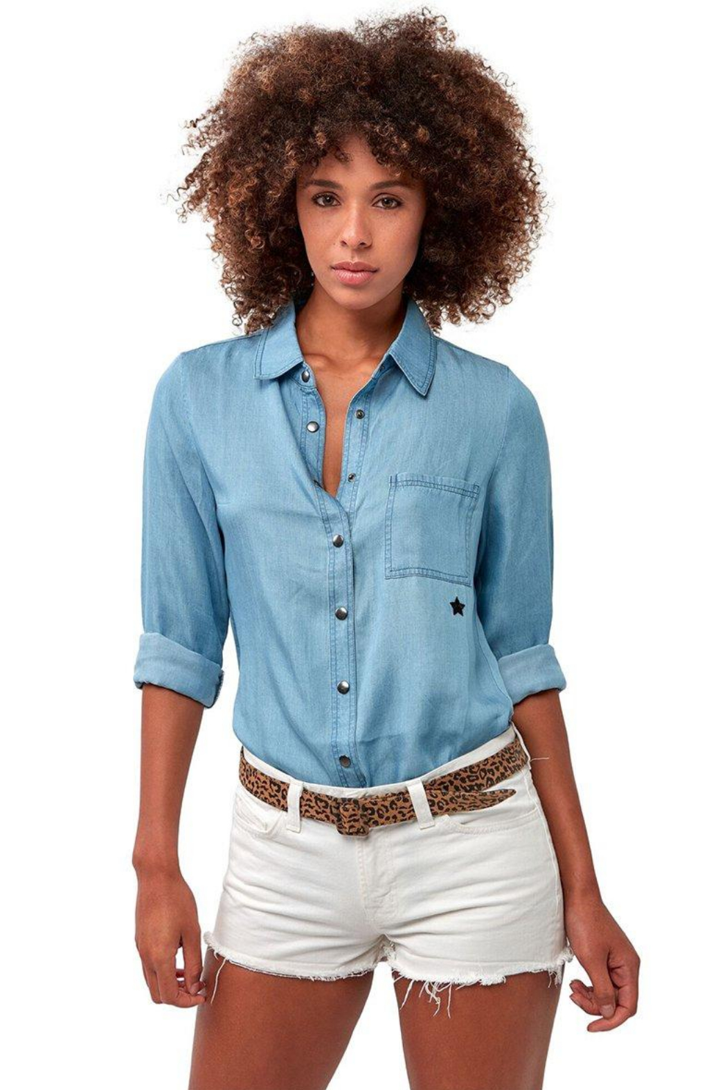 Astars Vintage Chambray Star Top - Front Cropped Image