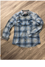 Flag & Anthem Vintage denim plaid shirt will be a must have for your guy this year,  The soft worn fabric is per - Product Mini Image